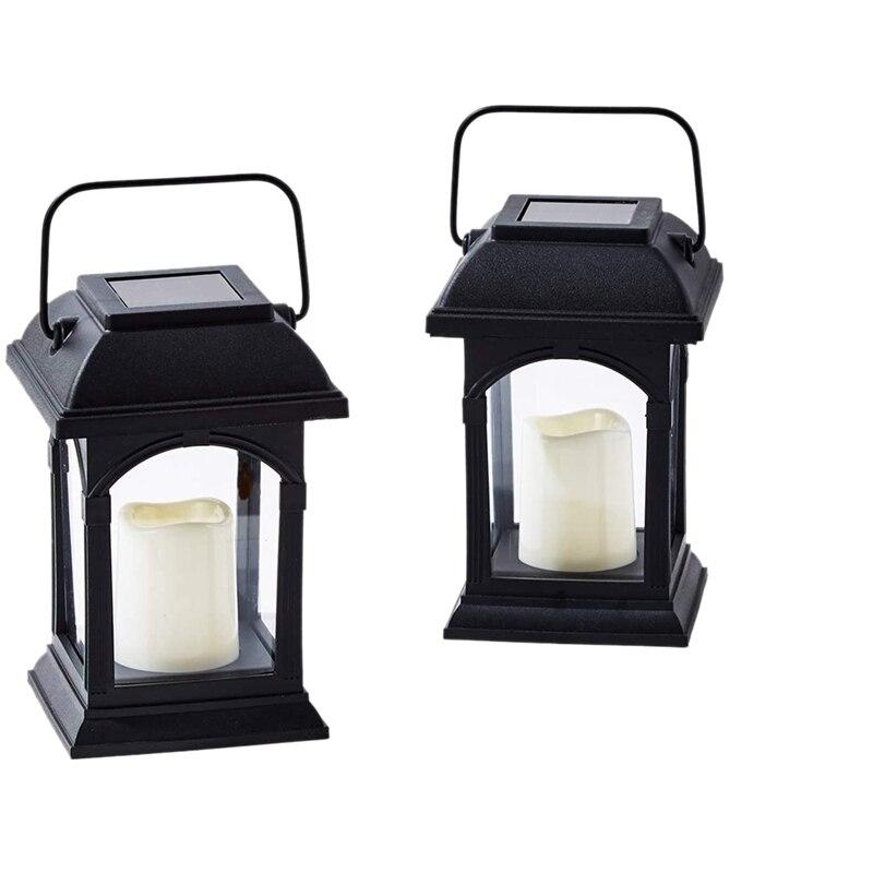 Pack de 2 lámparas solares para el aire libre, vela LED alimentada por energía Solar, temporizador para colgar al atardecer o iluminación de Patio de mesa
