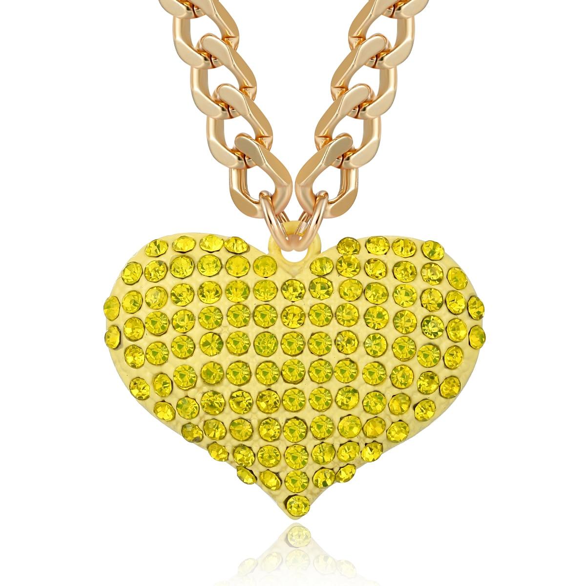 الهيب هوب الذهب كريستال القلب قلادة قلادة المرأة بيان الشرير الأرجواني حجر الراين شخصية مكتنزة المختنق سلسلة مجوهرات