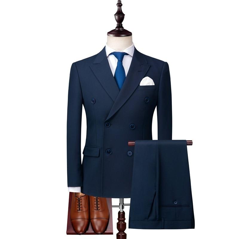 الرجال مزدوجة الصدر دعوى 3 قطعة مجموعة (معطف سترة السراويل) الأعمال عادية تمتد الراقية مخصص بلون سليم بليزر