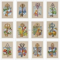 twelve months key patterns counted cross stitch 11ct 14ct diy chinese cross stitch kits embroidery needlework sets home decor