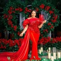 elegant red sequins beading ruffled wedding evening dress large size mermaid party prom dress custom
