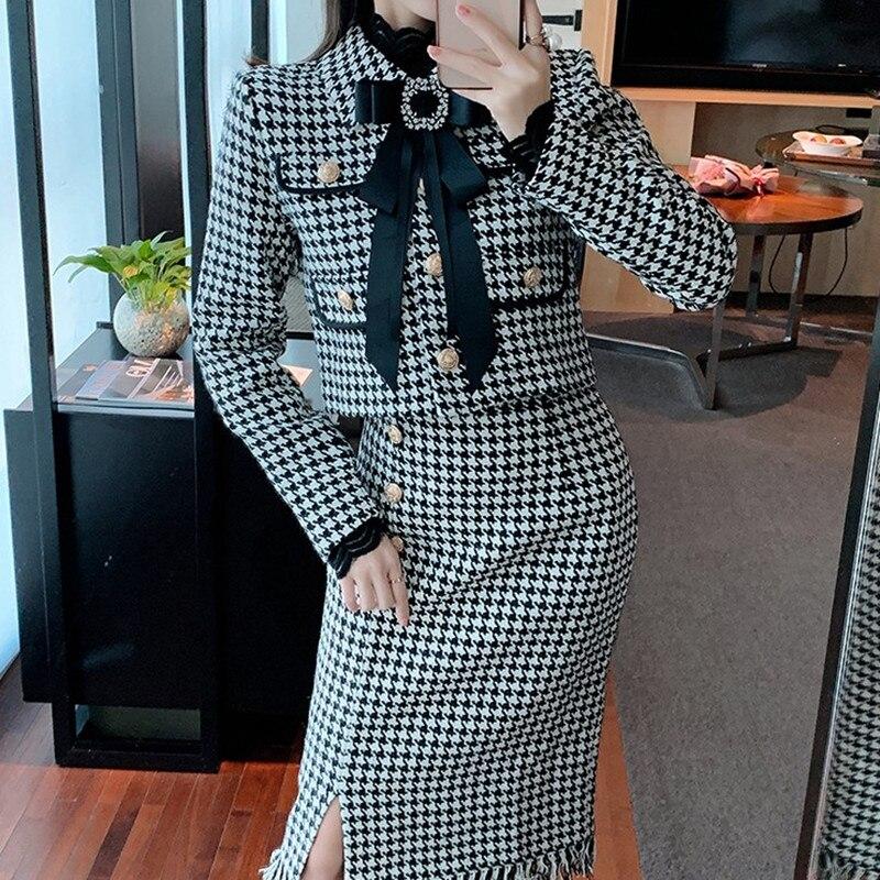 ZAWFL الخريف الشتاء الصوف الدعاوى النساء 2 قطعة مجموعة الديكور كبير Bowknot تويد سترة قصيرة معطف عالية الخصر جيب صغير تنورة مجموعة