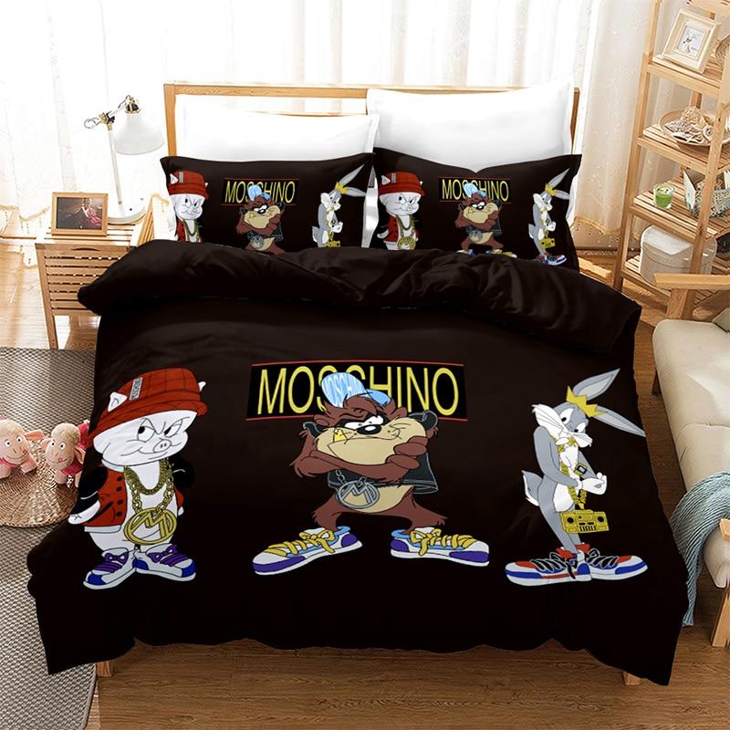 Bunny Bedding Set 3D Print Cartoon Cute Hero Pig Duvet Cover for Children Single Twin King Size Bedroom Decro Bedclothes 3pcs