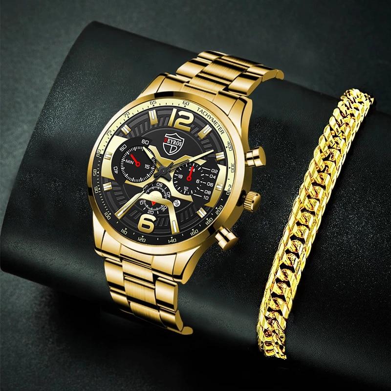 Luxury Mens Business Watches Male Stainless Steel Analog Quartz Gold Bracelet Wrist Watch Men Calend