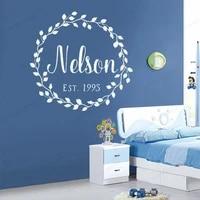 custom name vinyl wall decal wedding vine wreath wall sticker personalized kids room decor hj984
