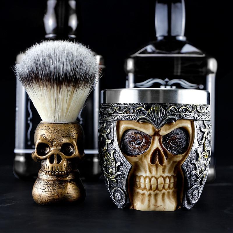 1/2pcs Barber Shop Fashion High-end Skull Shaving Brush Foaming Soap Bowl Set Men's Beard Facial Cleansing Tool Shaving Tool Set