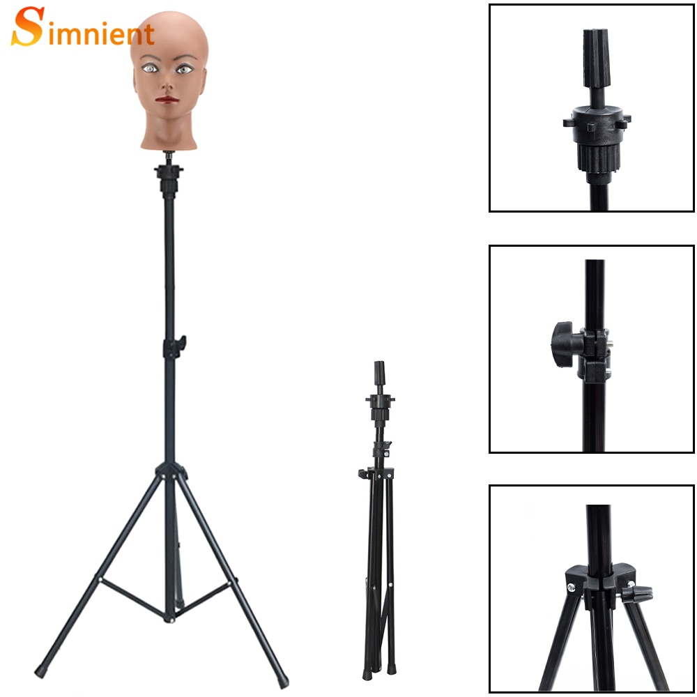 Simnient Adjustable Tripod Stand Holder Mannequin Head Tripod Hairdressing Training Head Holder Top Selling Hair Wig Stands Tool