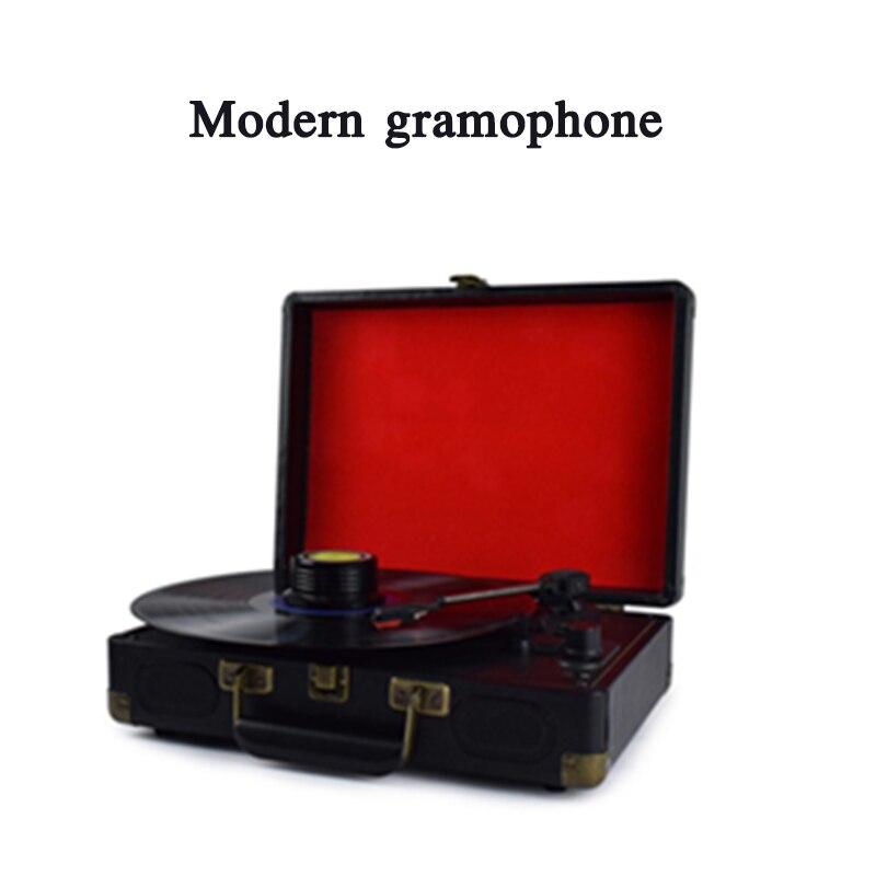 Leitor de discos de vinil lp rádio bluetooth portátil retro moderno fonógrafo portátil antiquado leitor de discos fonógrafo