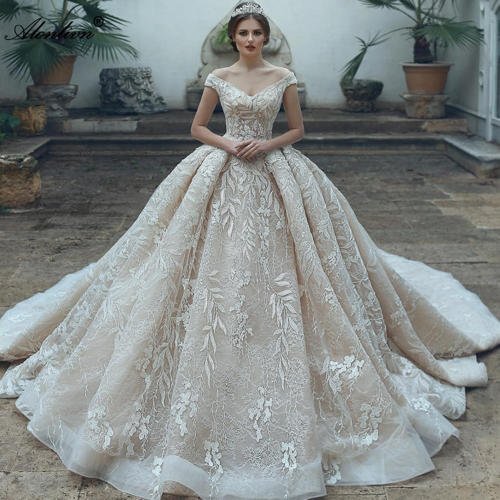 فستان زفاف مكشوف الكتفين من Alonlivn, فستان زفاف مطرز لامع بالخرز الكامل بدون أكتاف 2020