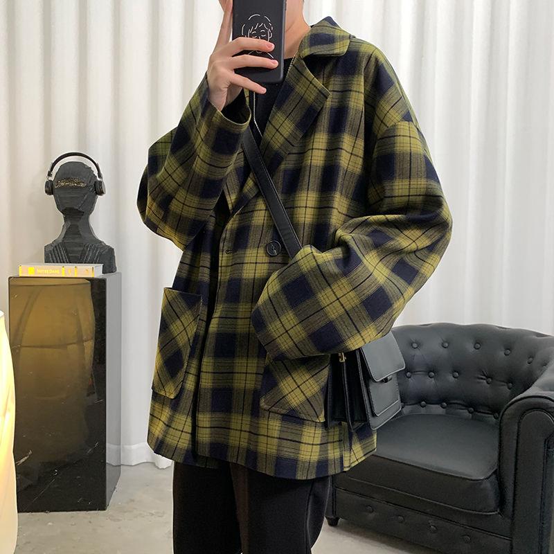 Terno masculino 2020 outono novo fino cor sólida xadrez impressão manga longa terno solto grande tamanho casual juventude masculino wear