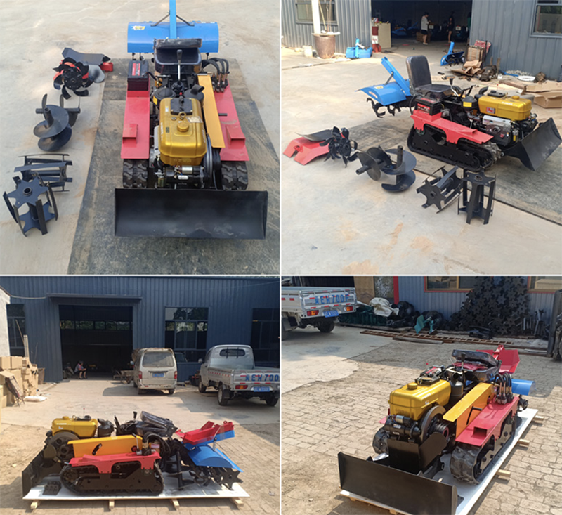 16hp crawler tractor rotary tiller micro tiller weeding, ditching fertilization multifunction greenhouse agricultural machinery enlarge