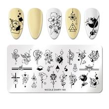 NICOLE journal ongles estampage plaque Rectangle fleur acier inoxydable Nail Art Image timbre pochoirs Nail Art décoration