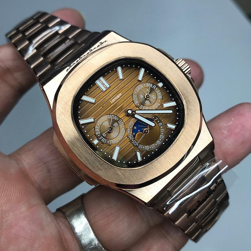Reloj de oro rosa PP para hombre, deslizamiento automático de cuerda automática, esfera negra lisa, calidad AAA, todas las esferas pequeñas funcionan en acero inoxidable 315L