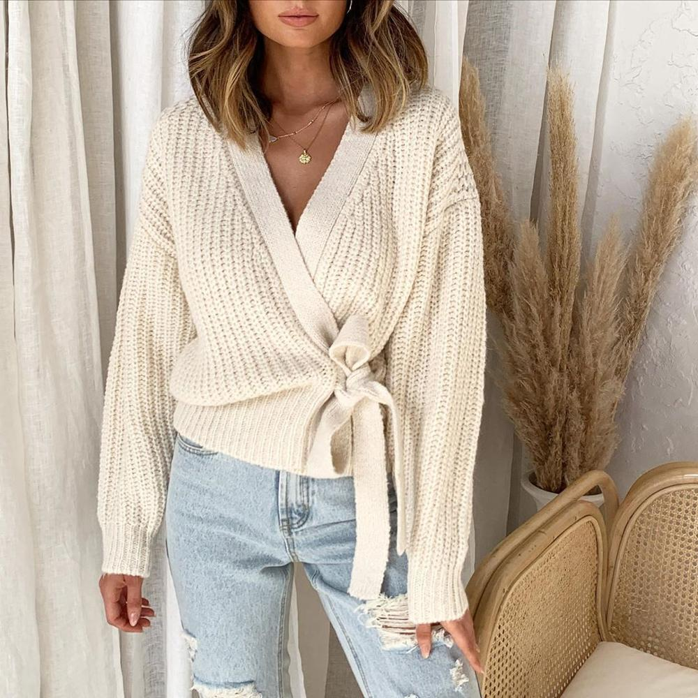 Women's 2020 Hot Fall Winter Fashion Casual V-neck Lace Knit Sweater Pullover Short Sweater late fall circle hoop lace up sweater
