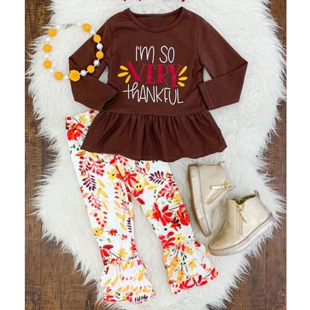 Niño niños bebé Día de Acción de Gracias Floral camiseta pantalones traje trajes conjunto recién nacido Ropa детская одежда mono # E25
