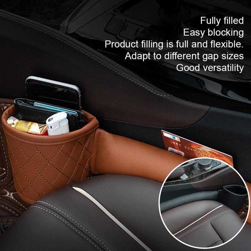 Funda de cuero para hueco de asiento de coche con bolsillos multifunción...