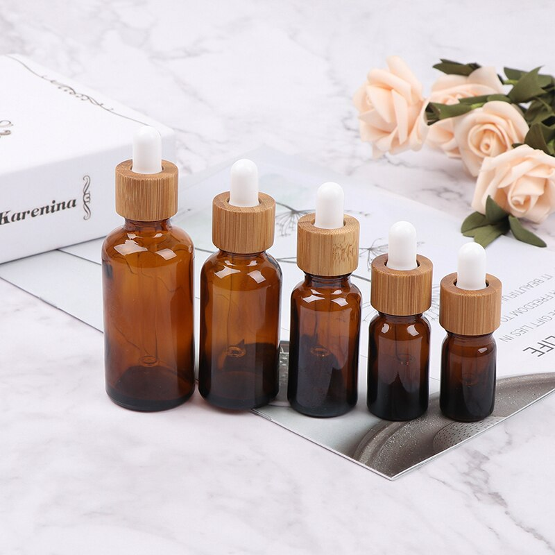 5-50ml Dropper Glass Tube Essential Oil Bottles Bamboo Lids Cosmetic Container New