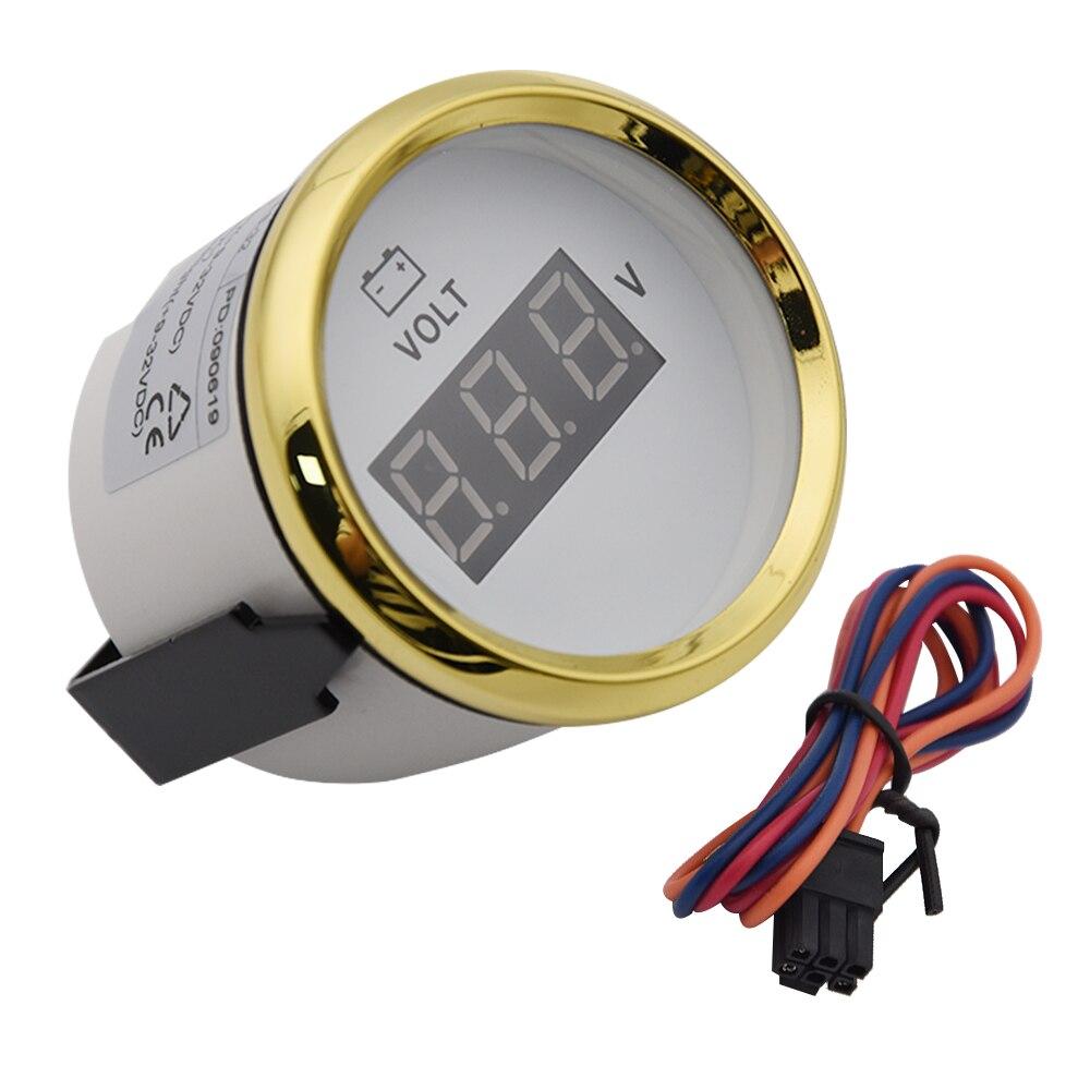 Voltímetro Digital a prueba de agua de 52mm, medidor de voltaje automático, retroiluminación de 8 ~ 32V, apto para coche, barco, camión de yate, motocicleta marina