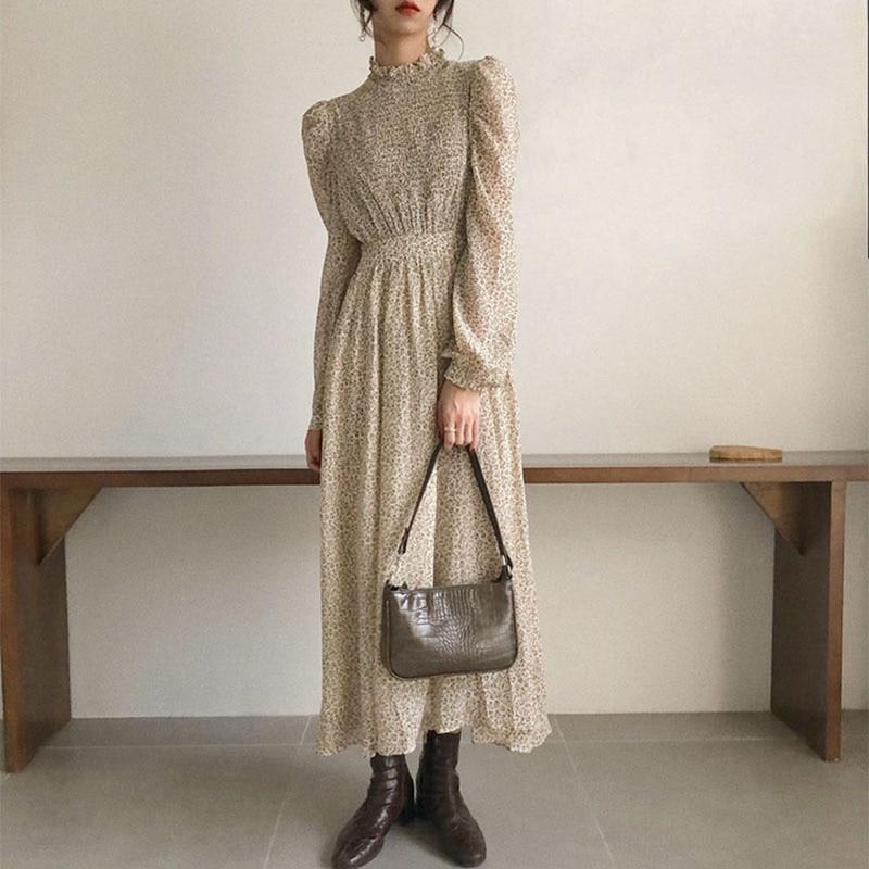BGTEEVER Vintage Stand Collar Ruched Sleeve A-line Dress Women Floral Print Elastic Waist Female Dress Spring Vestidos femme 202