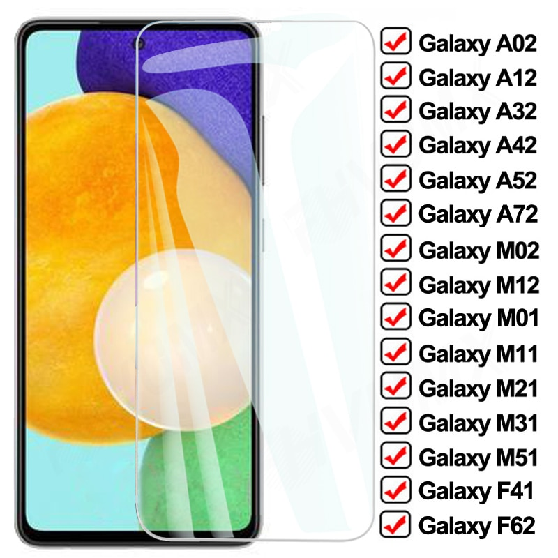 9D Full Protective Glass For Samsung Galaxy A02 A12 A32 A42 A52 A72 F41 F62 Screen Protector M02 M12