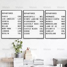 Départs pays liste toile peinture Paris New York pays-bas Poster sur le mur pour salon toile photo décoration