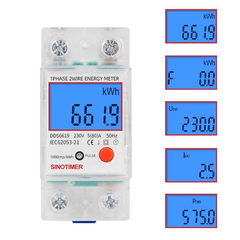 Dds6619 trilho lcd digital backlight monofásico medidor de energia multifuncional kwh consumo energia wattmeter eletrônico