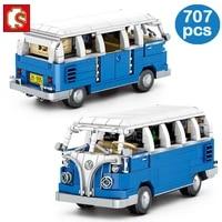 sembo high tech city creator bus building blocks vehicle model sightseeing car bricks construction educational toy children gift