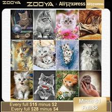 """""""ZOOYA diament malarstwo kot diament haft pełny kwadratowy obraz z dżetów Cross Stitch mozaika zwierzęta koraliki Art JQ71"""