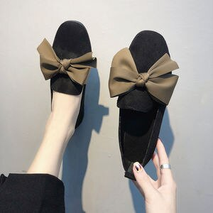 Cresfimix female cute sweet brown bow tie slip on loafers for summer women fashion spring black flock shoes zapatos dama a6205
