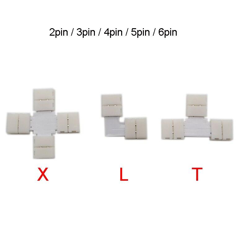 5 conjunto 2pin 3pin 4pin 5pin 6pin l t x forma led 5050 smd rgb rgbw 3528 2812 led faixa de conexão ângulo direito canto conector
