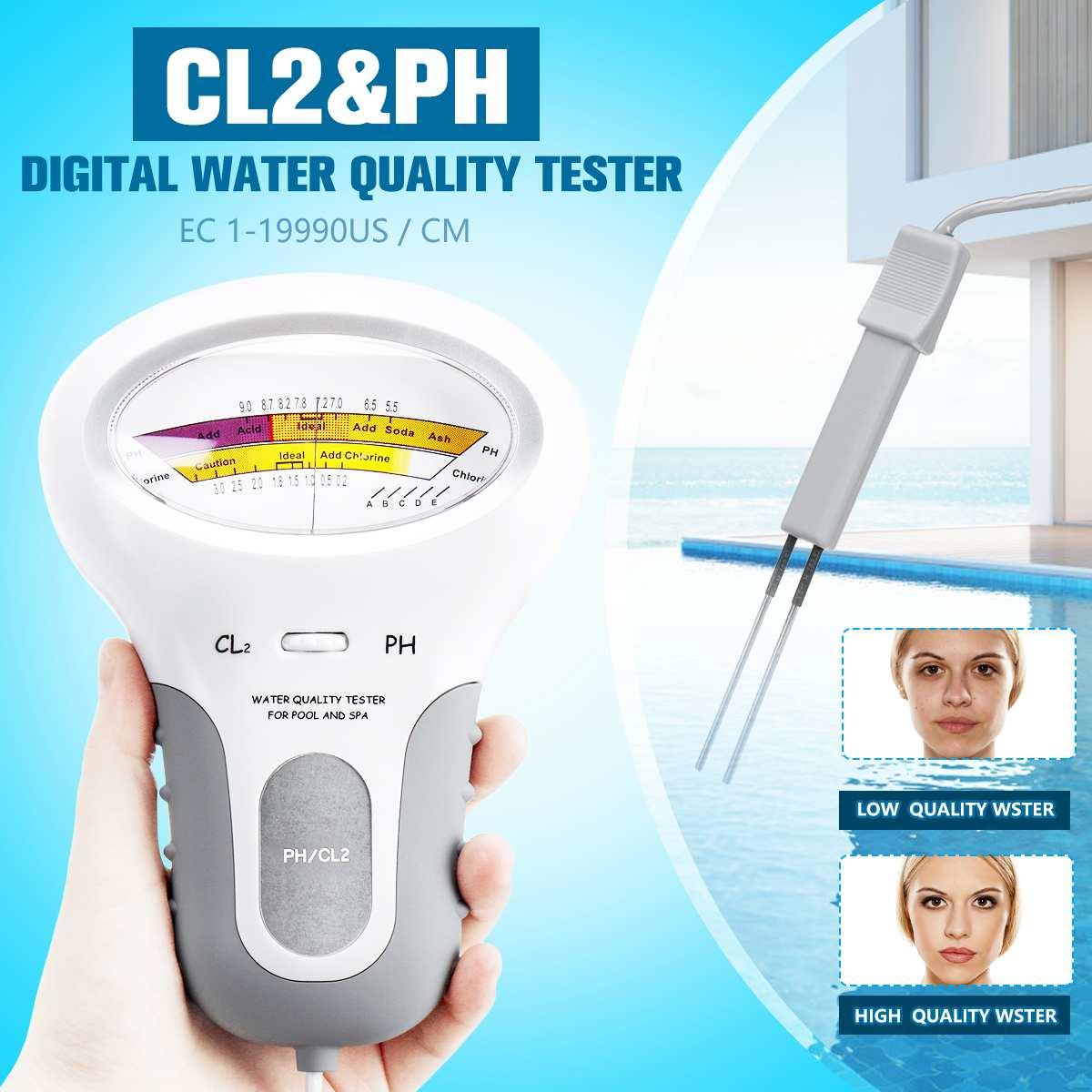 1Pcs PC-101 PH Meter CL2 Chlorine Water Quality Tester Portable Home Swimming Pool Spa Aquarium PH Test Monitor White 2 Styles