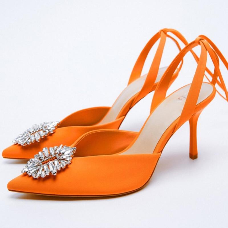 ZA خريف جديد أحذية نسائية البرتقال الدانتيل متابعة slingback عالية الكعب أشار تو مولر أحذية خنجر حذا فردي للسيدات