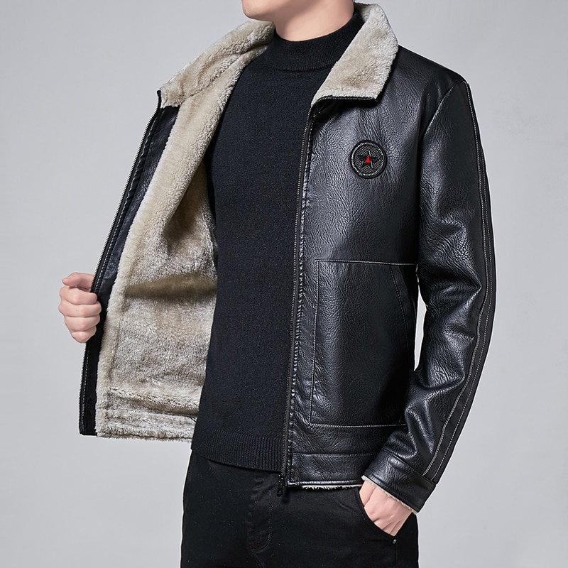Men Winter New Leather Jackets Autumn and Winter Fur Coat with Fleece Warm Fur Pu Jacket Biker Warm Leather CSL559 4XL