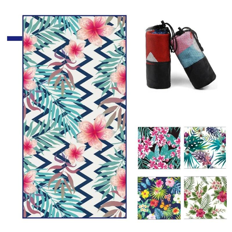 Toalla de playa de flores de 160X80CM, toalla de doble cara de secado rápido para hombre y mujer, toalla deportiva de secado rápido