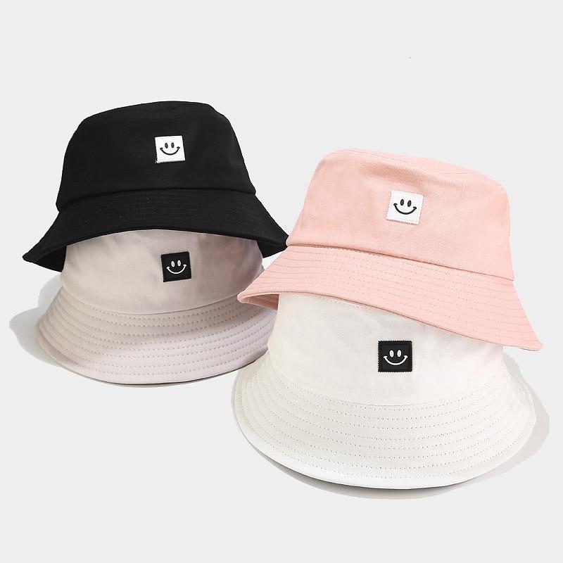 Burizzi moda cara sonriente Unisex protector solar para exterior sombrero con forma de cubo para mujer hombres Casual pescador Bob Cap nuevo encantador viaje Chapeau