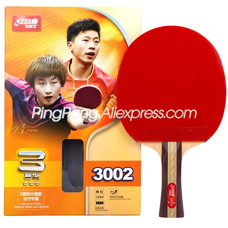 Raqueta de tenis de mesa de 3 estrellas Original DHS (3002, 3006) con goma (PF4-1, pips) Ping Pong bate