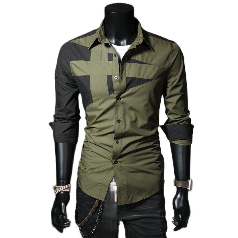 Мужские рубашки Мужская мода Повседневная тонкая длинная рубашка с длинными рукавами, топ, блузка, черная белая мужская футболка стиль руба...
