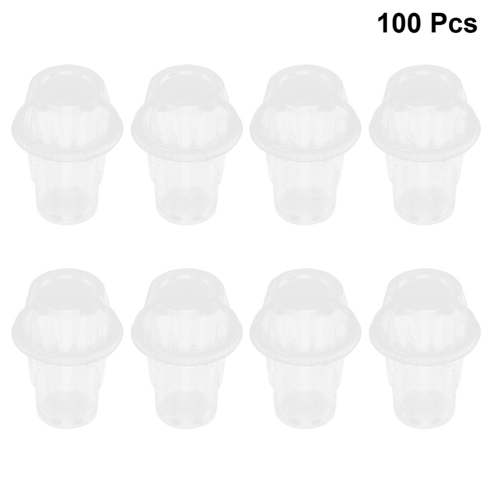 Juego de 100 vasos desechables transparentes de 250ml para postres, recipiente para helado con tapa para batidos de crema de leche para alimentos (sin cuchara)