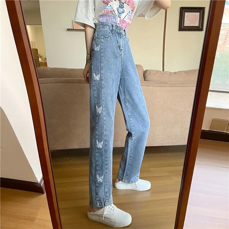Woman Jeans High Waist Clothes штаны Wide Leg Denim Clothing Blue Streetwear Vintage Harajuku Straight Pants jogger embroidery