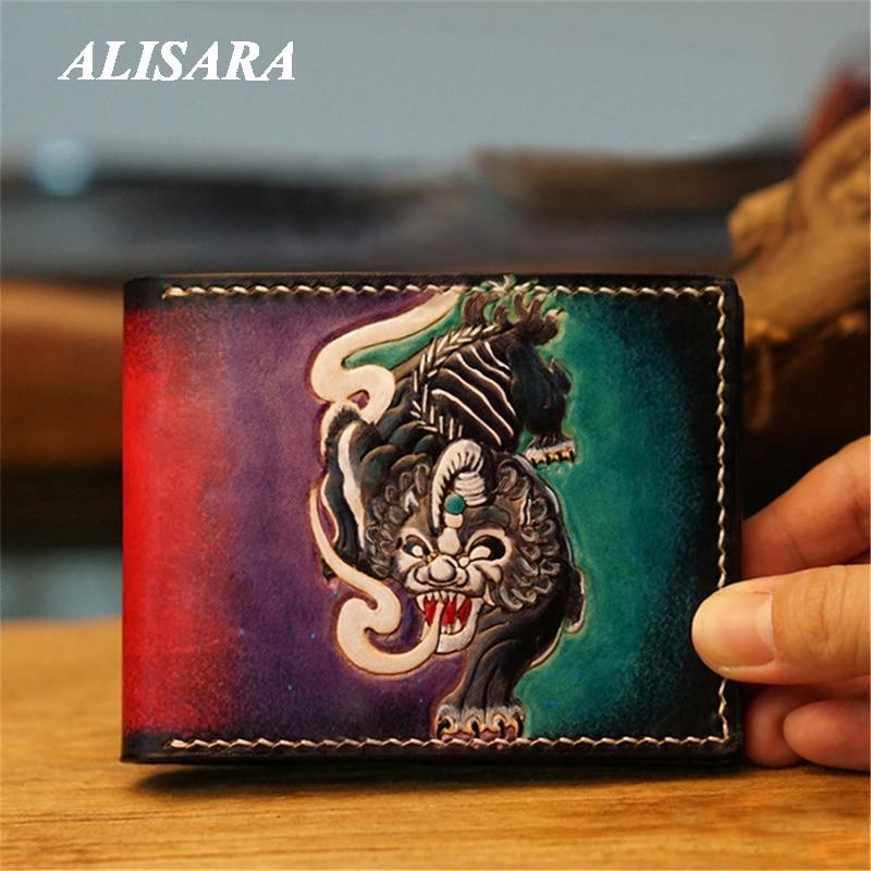 بطاقة حزمة منحوتة نمط الوحش ، حامل جواز سفر الرجال ، جواز سفر جلدية أو رخصة القيادة غطاء شخصية ، محفظة سفر
