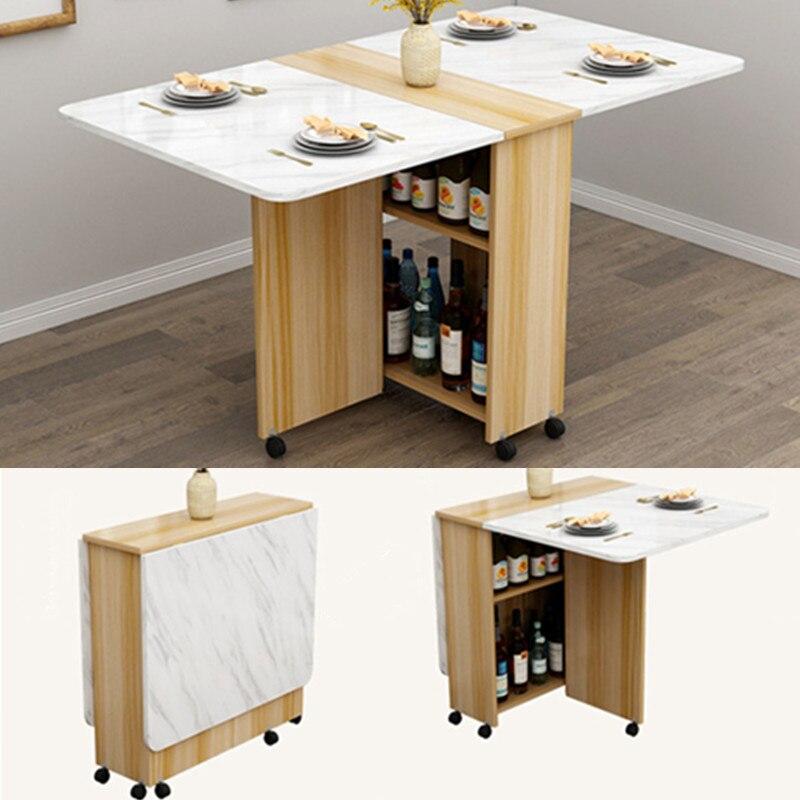 Mesa de comedor de madera con ruedas, mesa plegable para sala de estar, muebles de cocina, mesa de pared de escritorio de ordenador ecológica