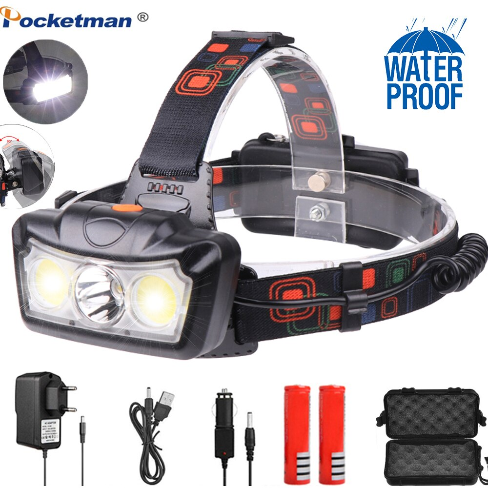 6000LM LED Scheinwerfer T6 + COB LED Scheinwerfer Kopf Lampe Taschenlampe Lanterna kopf licht Verwenden 2*18650 batterie für Camping