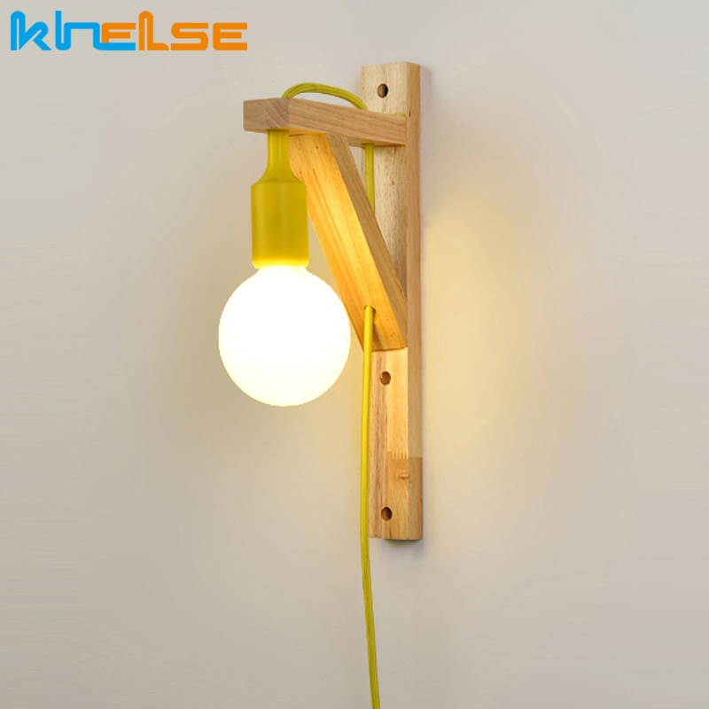 Lámparas de pared con Cable Simple de madera creativa colgante de madera sólida para escaleras pasillo pared luz sala de estar apliques de lámpara
