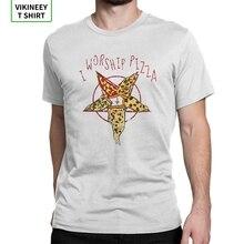 I Worship Pizza Pentagram TShirt Men Satanic Dark Satan Devil Hell Demon Skull Funny Cotton Tees Short Sleeve T Shirt New