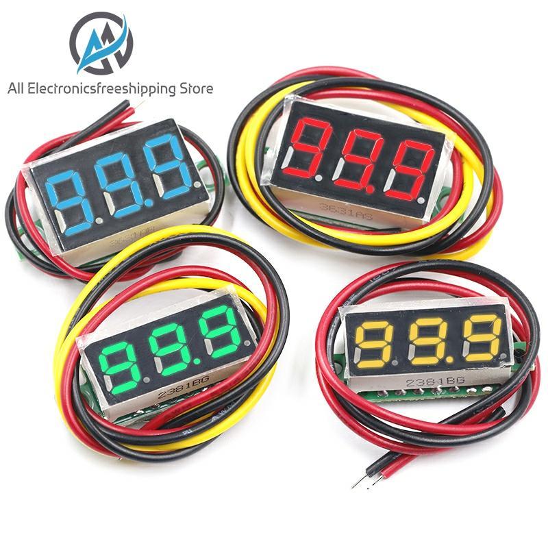 """0.36 Inch 0.36"""" Digital Voltmeter Red Green Blue DC 0V-100V Three Lines 3 digit Voltage Panel Meter Display led Color"""