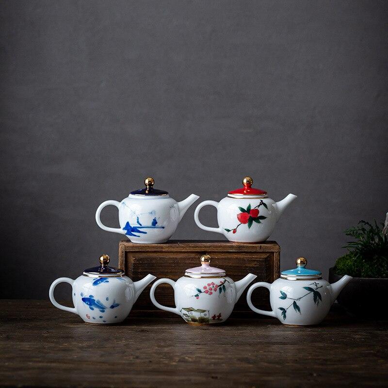 Tetera de cerámica, juego de té de Kung Fu pintado a mano, tetera pequeña hecha a mano con filtro, tetera individual, jarra de agua del té, tetera de porcelana