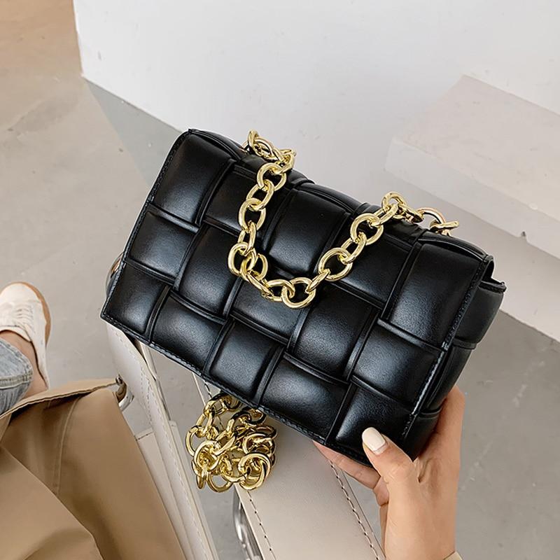 Luxury Women's Shoulder Bags Weave Leather Flap Bag For Women 2020 New Brand Designer Handbags Thick Chain Crossbody Bags Female