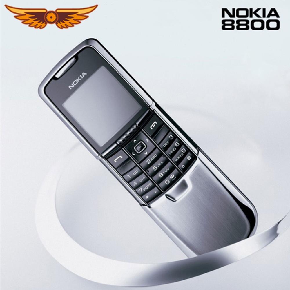 Teléfono móvil Nokia 8800 Original, teclado Inglés/ruso, teléfono GSM FM Bluetooth, oro, plata, negro, garantía de un año