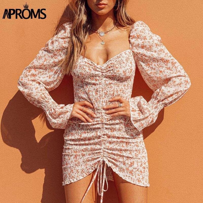 Aproms Elegant Sweet Purple Floral Print Chiffon Dress Women Spring Sexy Off Shoulder Long Sleeve Bodycon Dresses Vestidos 2020
