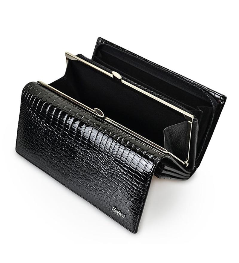 Women Luxury Genuine Leather Long Bifold Wallet Alligator Zip Coin Purse Female Card Holder Hasp Des